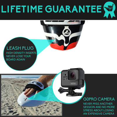 The Hawaiian Bula Drip Shorebreak Handboard with Camera insert and Hand Strap