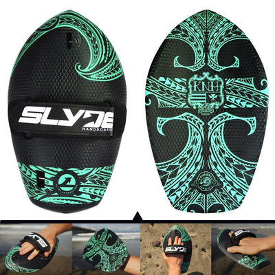 The Hawaiian Bula White Tribal Shorebreak Handboard with Gopro Insert and Hand Strap
