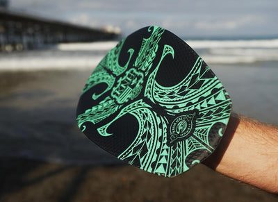 "The Hawaiian Bula ""TEAL"" Tribal Shorebreak Handboard with Gopro Insert and Hand Strap.     ""PRE ORDER ONLY"""