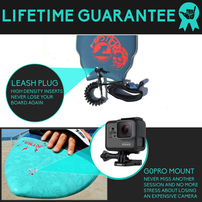 Wedge Hipster Handboard For Bodysurfing With Camera Insert and Hand Strap
