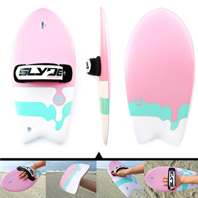 The Phish Bubblegum Handboard for bodysurfing with Camera Insert and Hand Strap