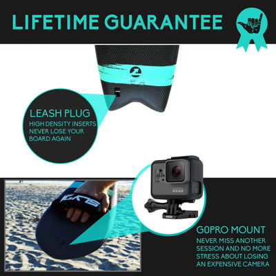 The Phish 389 Handboard for bodysurfing with Camera Insert and Hand Strap