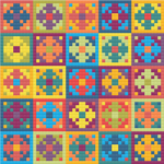 "EASY Rainbow Meditative Cross-Stitch Pattern - ""Little Flowers"" LKCS5001"