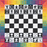 "Rainbow Meditative CHESS Cross-Stitch Pattern - ""Chess Pride"" LKMC012"