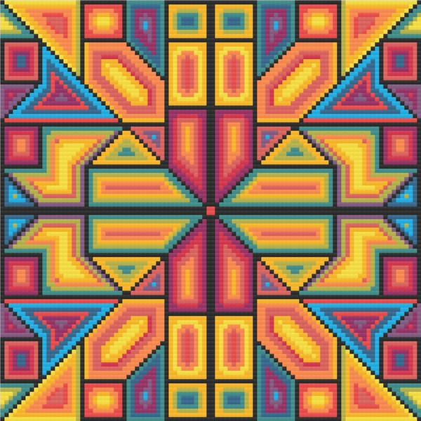 "Rainbow Meditative Cross-Stitch Pattern - ""Shaped"" LKMC008"