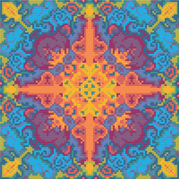 "Rainbow Meditative Cross-Stitch Pattern - ""Birth"" LKMC003"