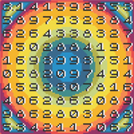 "Rainbow Math Numbers Cross-Stitch Pattern - ""Pi Chart - Squaring the Circle"" LKPC001"