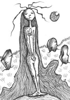 Image Description: Feminine figure with hair down past feet, standing nude on a small hill amongst gravestones, holding a single flower and looking expressionless, a crescent moon in the background.