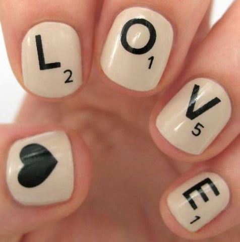 Love painted on nails