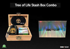Tree of Life Stash Box Combo - Full Size Titanium 4 Part Herb Grinder - UV Glass stash jar - Engraved Wood Stash Box - Smell Proof and Airtight (Tree of Life)