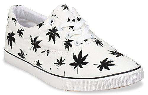 Hipster Mens Marijuana Weed Leaf Skate Shoe,White,9 D(M) US