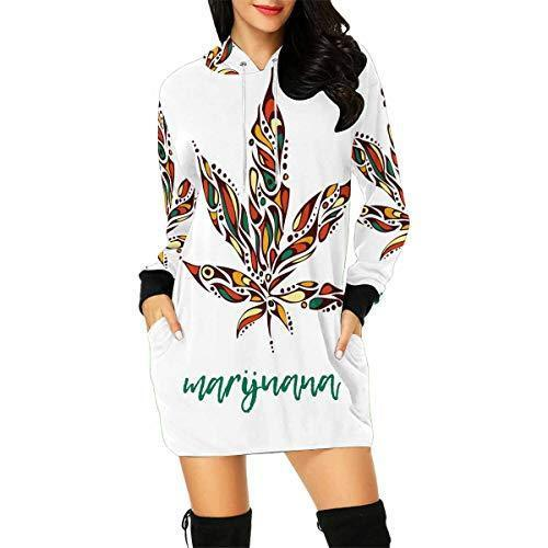 InterestPrint Weed Marijuana Leaf Women's Long Sleeve Hoodie Mini Dress Sweatshirt X-Small