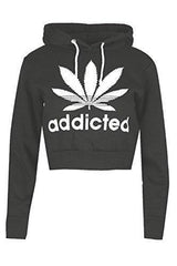 Oops Outlet Womens Ladies Addicted Weed Leaf Long Sleeve Hooded Cuff Draw String Crop Top