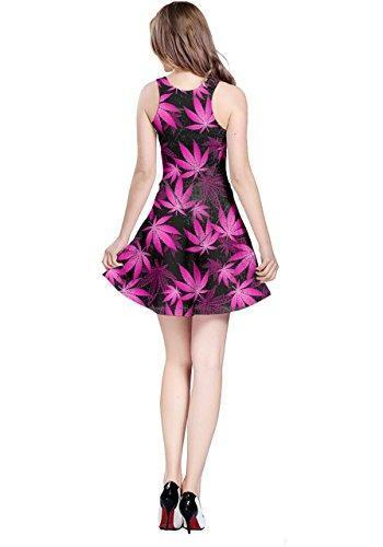 CowCow Womens Dark Pink Cannabis Marijuana Sleeveless Dress, Dark - L