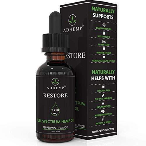 ADHEMP Restore 1750mg Full Spectrum Hemp Oil for Pain Relief, Stress Support, Anti Anxiety, Sleep Supplements - Herbal Drops Rich in Fatty Acids - Natural Anti Inflammatory - 1 Oz / 30 ml