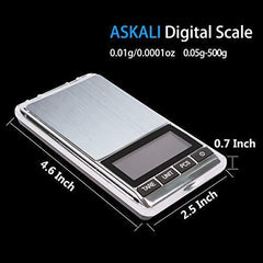 Pocket Food Scales Portable Jewelry Scale 500g/0.01g - Digital Jewelers Scale Black Electronic LCD - Kitchen Scale Stainless Steel body Mini Coffee Scale, Battery Included (500gx0.01g)