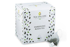 Tea Sailors Darjeeling Black Tea 15 Pyramid Tea Bags (1.27oz) First Flush SFTGFOP1, 100% Unblended Single Origin Premium Whole Leaf Tea Bags