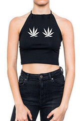 Minga London Weed Halter Crop Top Women's T-Shirt Cannabis