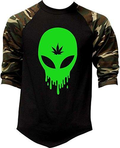 Men's Dripping Alien Weed Leaf V365 Tee Black/Camo Raglan Baseball T-Shirt Medium Black/Camo