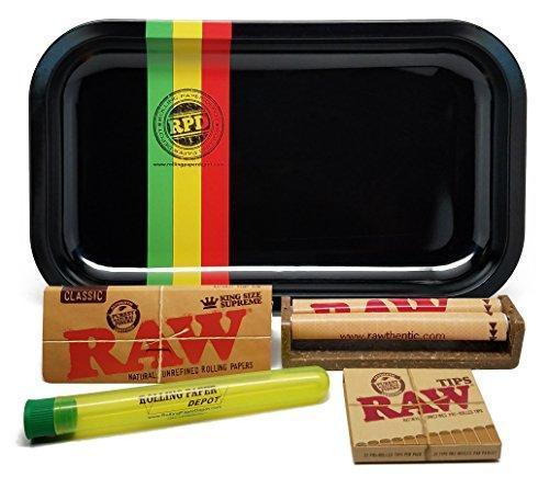 Bundle - 5 Items - RAW King Size Supreme, 110 Roller and Pre-rolled Tips with Rolling Paper Depot Rolling Tray (Rasta Racer) and Doobtube