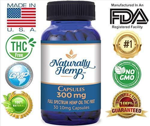 Naturally Hemp Oil - 300mg Capsule - Certified Organic - Relief for Stress, Inflammation, Pain, Sleep, Anxiety, Depression, Nausea - Full Spectrum Extract Safe for Your Whole Family
