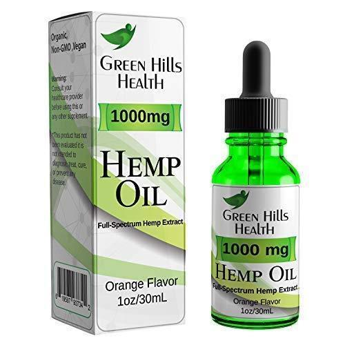 Hemp Oil 1000MG Full Spectrum Premium Hemp Oil for Pain Anxiety, Stress and Inflammation. Improves Mood Sleep Skin & Hair Organic Vegan Non-GMO Orange Flavor 1 Fl Oz Low Intro Price