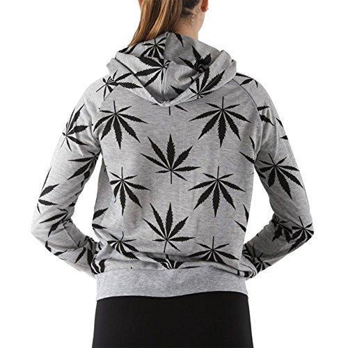 Women's Marijuana Weed Leaf Print Jacket Long Sleeve Hooded Sweatshirt (Grey, S)