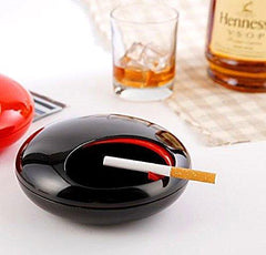 T2C Portable Rotation Round Ashtray with Lids Smoke Soot Vat Lighters Smoking Accessories (black)