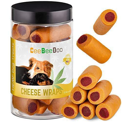 CeeBeeDoo Dog Treats with Hemp Oil for Pain Relief & Anxiety – Healthy & Tasty Hemp Treats for Dogs – Natural Pet Hemp Chews Dog Calming Treats for Small & Large Dogs, (Cheese Wraps)