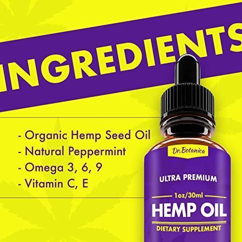 Hemp Oil Drops, 1000mg, Full Spectrum, 100% Organic, Reduces Pain, Anxiety and Stress, Helps with Sleep, Mood, Skin and Hair