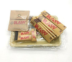 RAW Bundle Tray Set (10 Items) Mini Rolling Tray, Pocket Ashtray, 5 Packs Classic King Size Slim Papers & 3 Rolling Tips Booklets