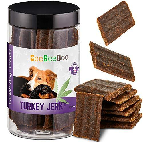 CeeBeeDoo Dog Treats with Hemp Oil for Pain Relief & Anxiety – Healthy & Tasty Hemp Treats for Dogs – Natural Pet Hemp Chews Dog Calming Treats for Small & Large Dogs, (Turkey Jerky)