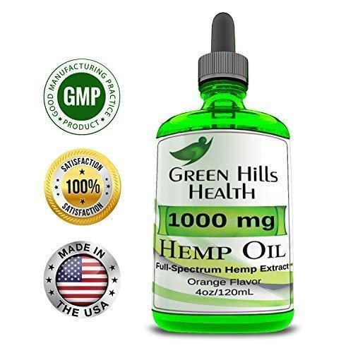 Hemp Oil 1000MG 4 oz Full Spectrum Premium Hemp Oil for Pain Anxiety, Stress and Inflammation. Improves Mood Sleep Skin & Hair Organic Vegan Non-GMO Orange Flavor Low Intro Price