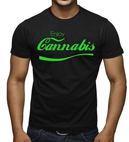 Green Enjoy Cannabis V364 Tee Men's Black T-Shirt Large Black