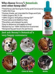 Benny's Hemp Oil for Dogs and Cats 250mg - Supports Anxiety Relief, Aging, and Joint Pain in Pets - 100% Organic, Natural, Grown & Made in USA