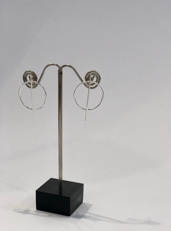 Sterling Silver Bar & Silver Push-back Earrings 2