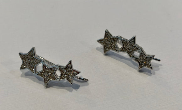 Sterling Silver Star Ear Pins