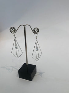 Sterling Silver Ball & Rhombus Hook Earrings