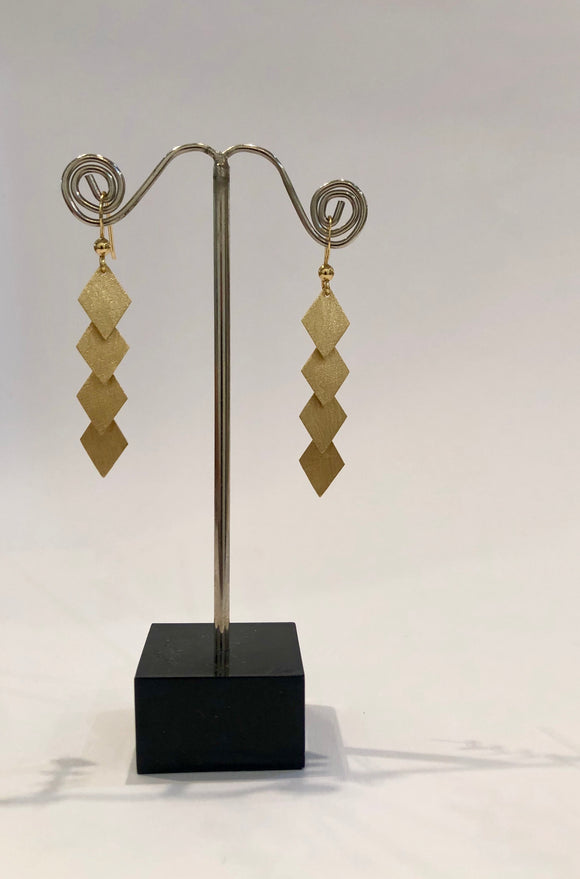 Bent Metal 925 Sterling Silver Rhombus Dangle Earrings, Plated with 1 Micron 14K or 18K Yellow Gold