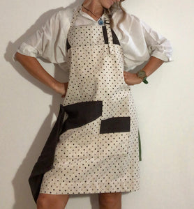 Apron - Brown Polka Dots - Pure Linen