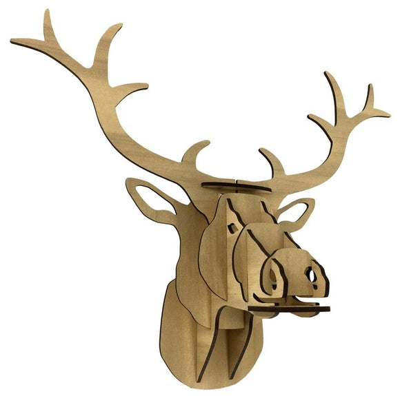 Flatpack Stag Medium Lightwood Head
