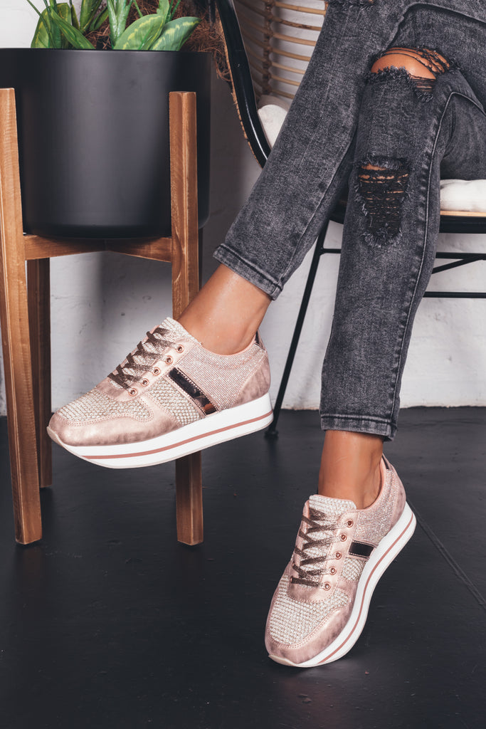 platform sneakers, ladies, woman, metallic, rose gold, platform