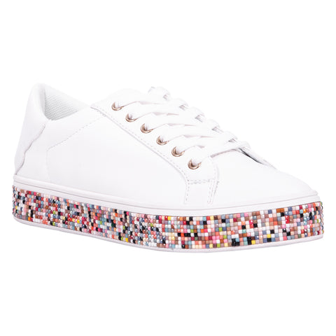 platform sneaker, ladies, rainbow, beads