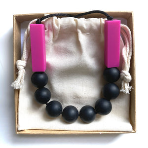 SOPHIE Teething Necklace  | Fuchsia + Black
