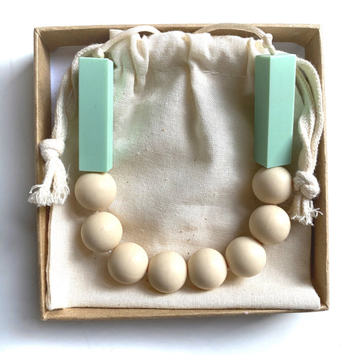 SOPHIE Teething Necklace  | Mint + Nude