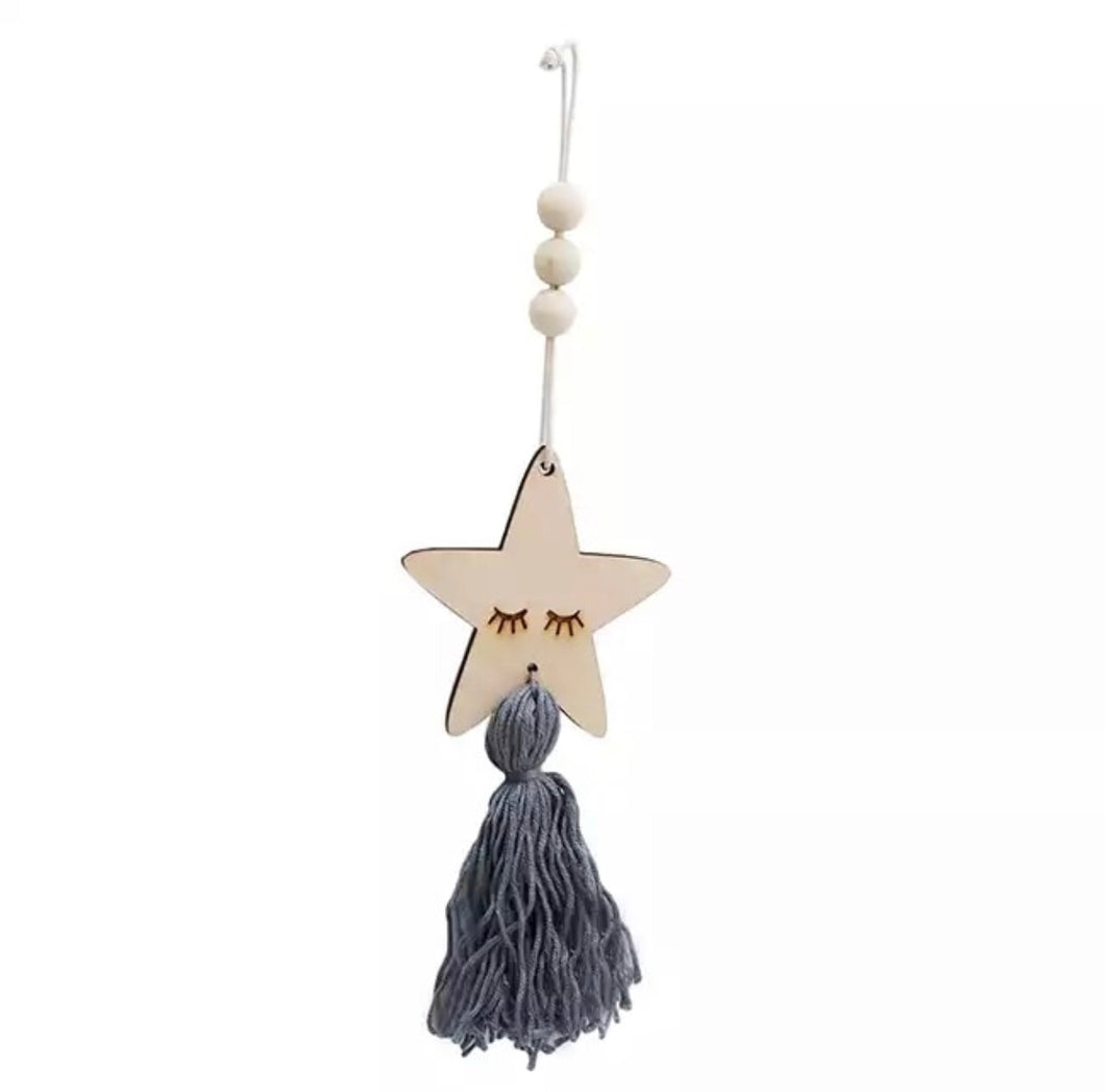 Wooden room hanging with tassel