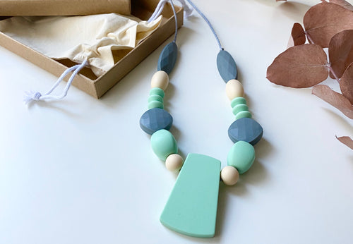 Statement necklace | Mint/Nude/Grey