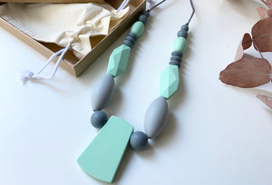 Statement necklace | Mint/Grey