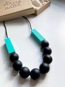 SOPHIE Teething Necklace  | Turquoise + Black