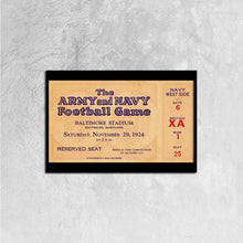 Load image into Gallery viewer, 1924 Army vs. Navy Canvas Ticket Stretched Black Horizontal Frame Ready to Hang, 24 ⅹ 16 inch